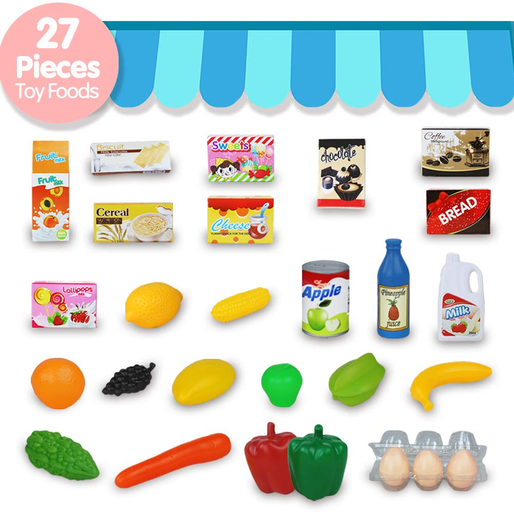 Fajiabao Kids Shopping Cart Toy Play Grocery Cart Trolley Supermarket Pretend Playset with 27 PCS Fruits Vegetables Food for Toddler Child Boys Girls 2 3 4 5 6 Years Old by Fajiabao (Image #2)