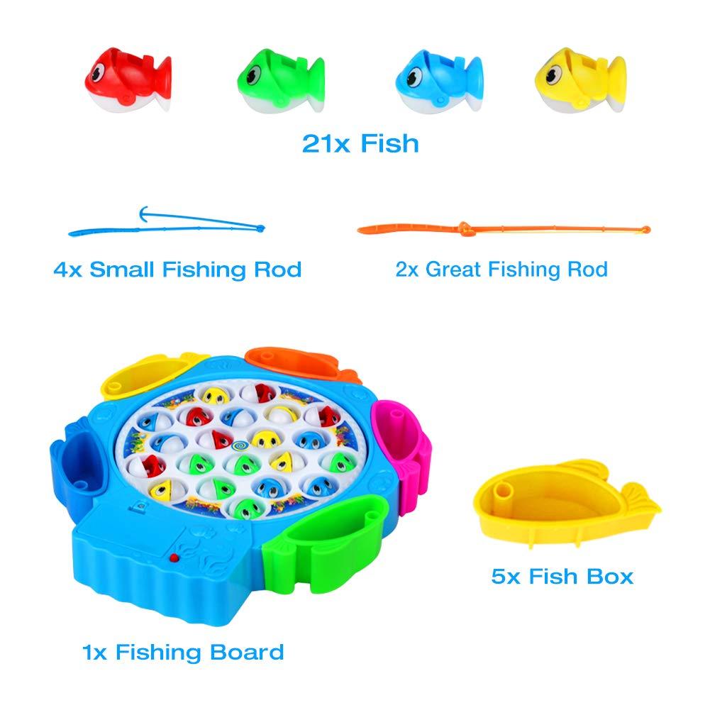 Juego de Pesca Cañas Pescar Niños Musical Juguete Pescar Peces Juegos Educativos Niños 3 Años