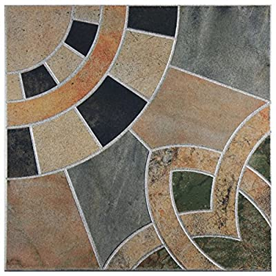 "SomerTile FEM18CTA Marta Ceramic Floor and Wall Tile, 17.75"" x 17.75"", Grey/Orange/Black/Beige/Green"
