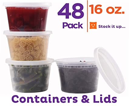 Amazoncom Food Storage Containers With Lids 48 Pack 16 Oz