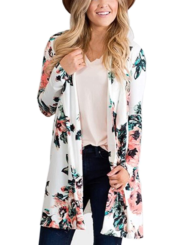 BB&KK Flower Chiffon Shawl Kimono Cardigan Coats Jackets Cover up Blouse Tops (XL, White)