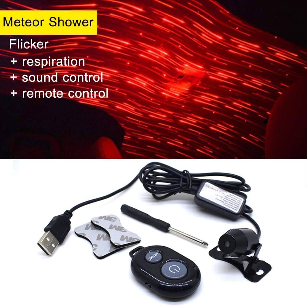 Meteor Shower USB 100mw Laser Atmosphere Ambient Star led Glow The interiors Multiple Modes Lights for car//Home//Party