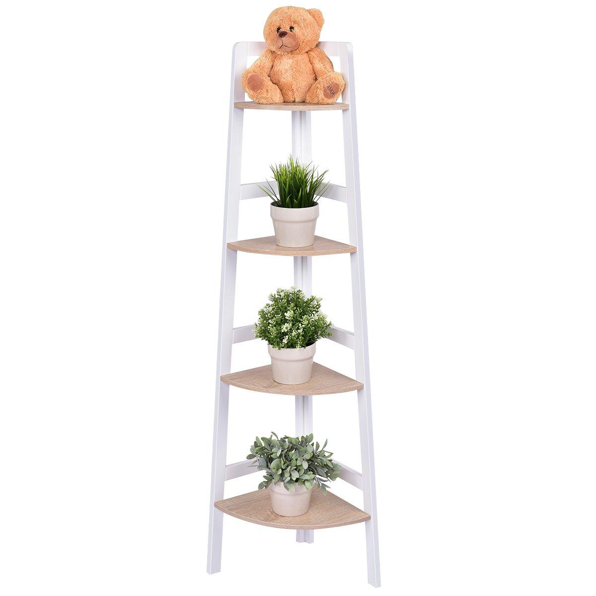 Giantex 4-Tier Corner Shelf Wood Bookshelf Flower Plant Rack Ladder Bookcase Home Living Room Bedroom Bathroom Kitchen Office Study Furniture Wall Corner Stand Display Shelf Open Fan-Shaped Shelf