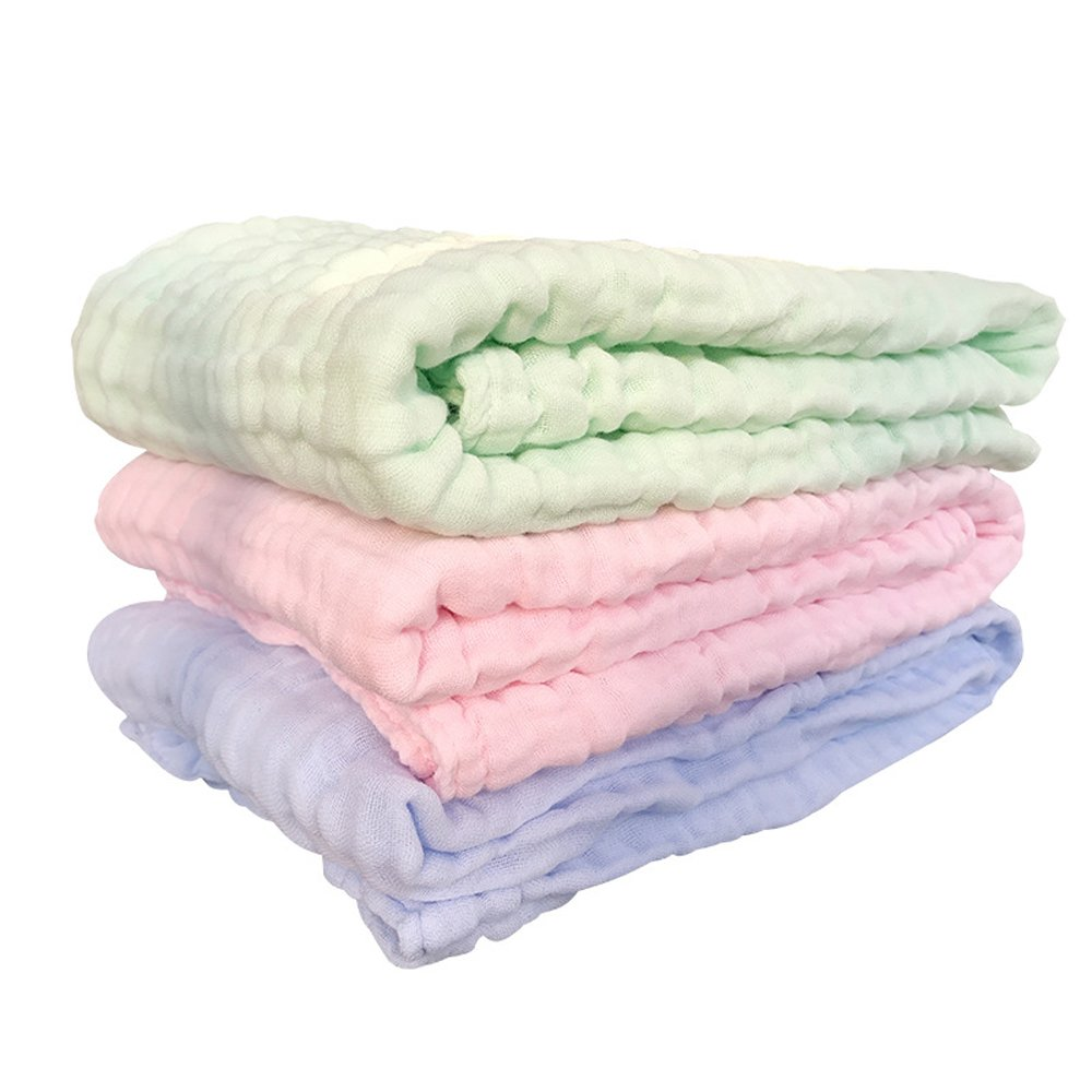 6Layer Gauze 220g 105x105cm Muslin Cotton Absorbent Thick Soft Warm Bath Towels Blanket Swaddle for Newborn Baby by Busy Mom MY021B