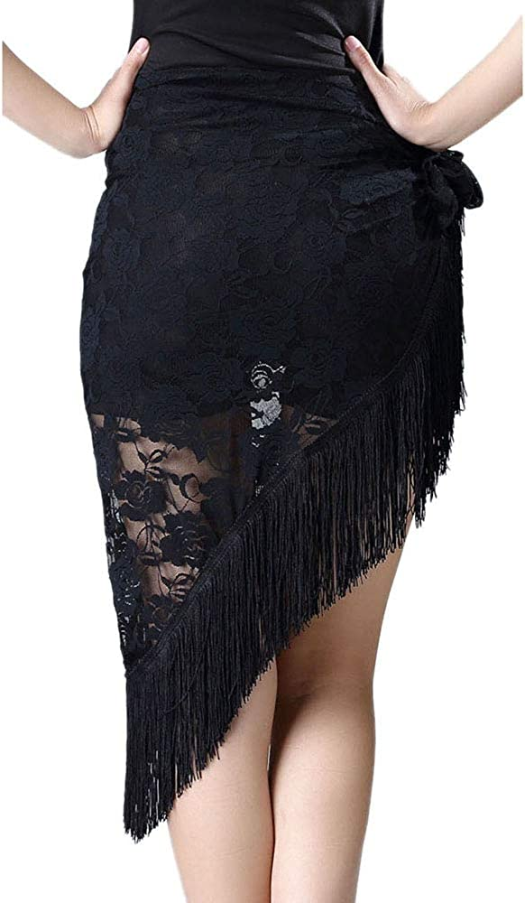 Whitewed Fringe Lace Latin Ballroom Dance Practice Performance Wrap Skirts Wear