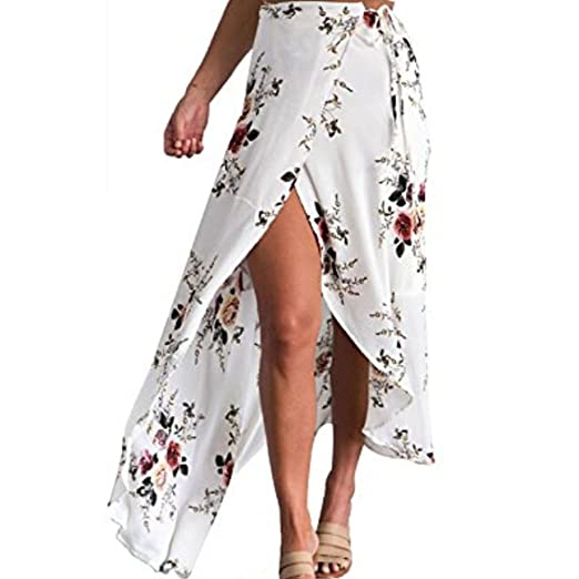 b81cef5be7 WANGSCANIS Womens Boho Floral Tie Up Waist Summer Beach Wrap Cover Up Maxi  Skirt (Tag L - US 8, White) at Amazon Women's Clothing store: