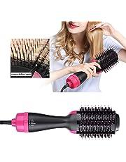 Cepillo de aire caliente Peine caliente Secador de pelo de iones negativos Cepillo de la plancha de pelo Cepillo rizador Cepillo del cabello secador de pelo Peine (Negro)