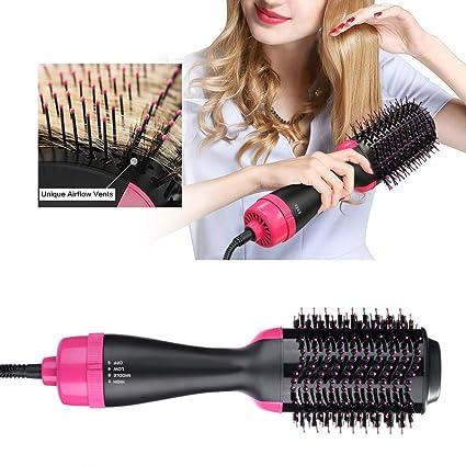 Cepillo de aire caliente Peine caliente Secador de pelo de iones negativos Cepillo de la plancha de pelo Cepillo rizador Cepillo del cabello secador ...