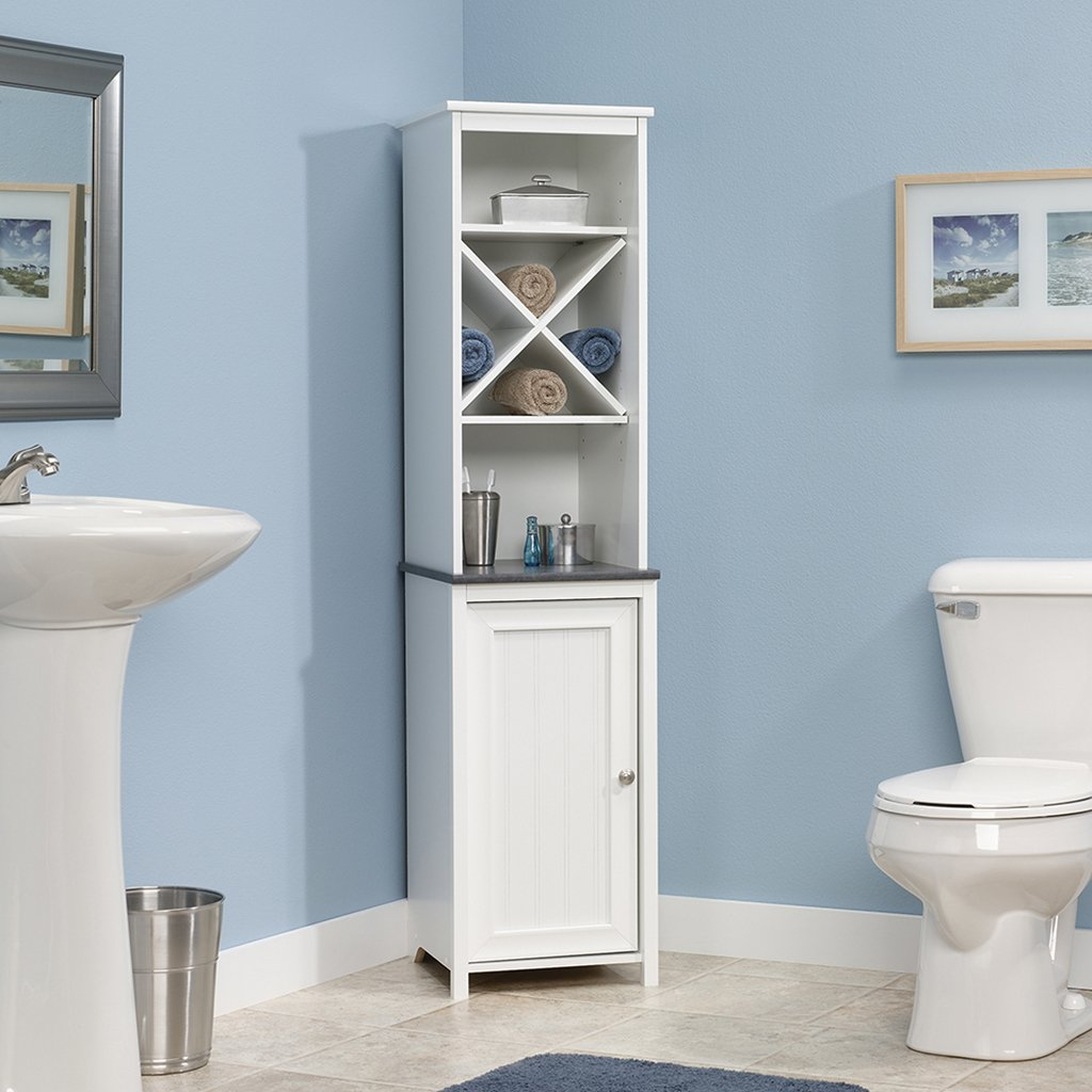 Amazon.com: Sauder Linen Tower Bath Cabinet, Soft White Finish ...