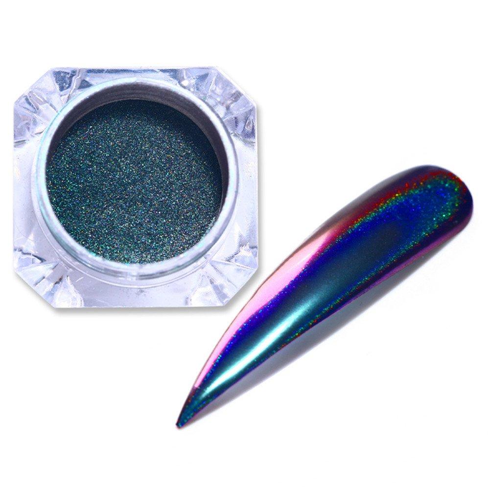 BORN PRETTY 4 Boxes Nail Art Chameleon Peacock Holographic Mirror Powder Manicure Chrome Pigment Laser Rainbow Neon Dust Glitter