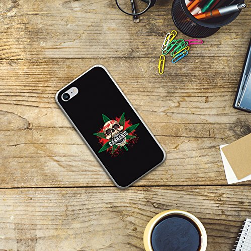 iPhone 8 Hülle, WoowCase Handyhülle Silikon für [ iPhone 8 ] Cannabis Schädel Handytasche Handy Cover Case Schutzhülle Flexible TPU - Transparent