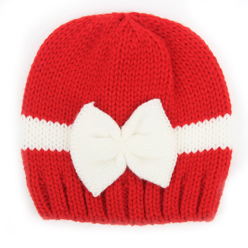 Feamos Newborn Baby Infant Bow Cap Bowknot Knit Crochet Hat for Prob Travel