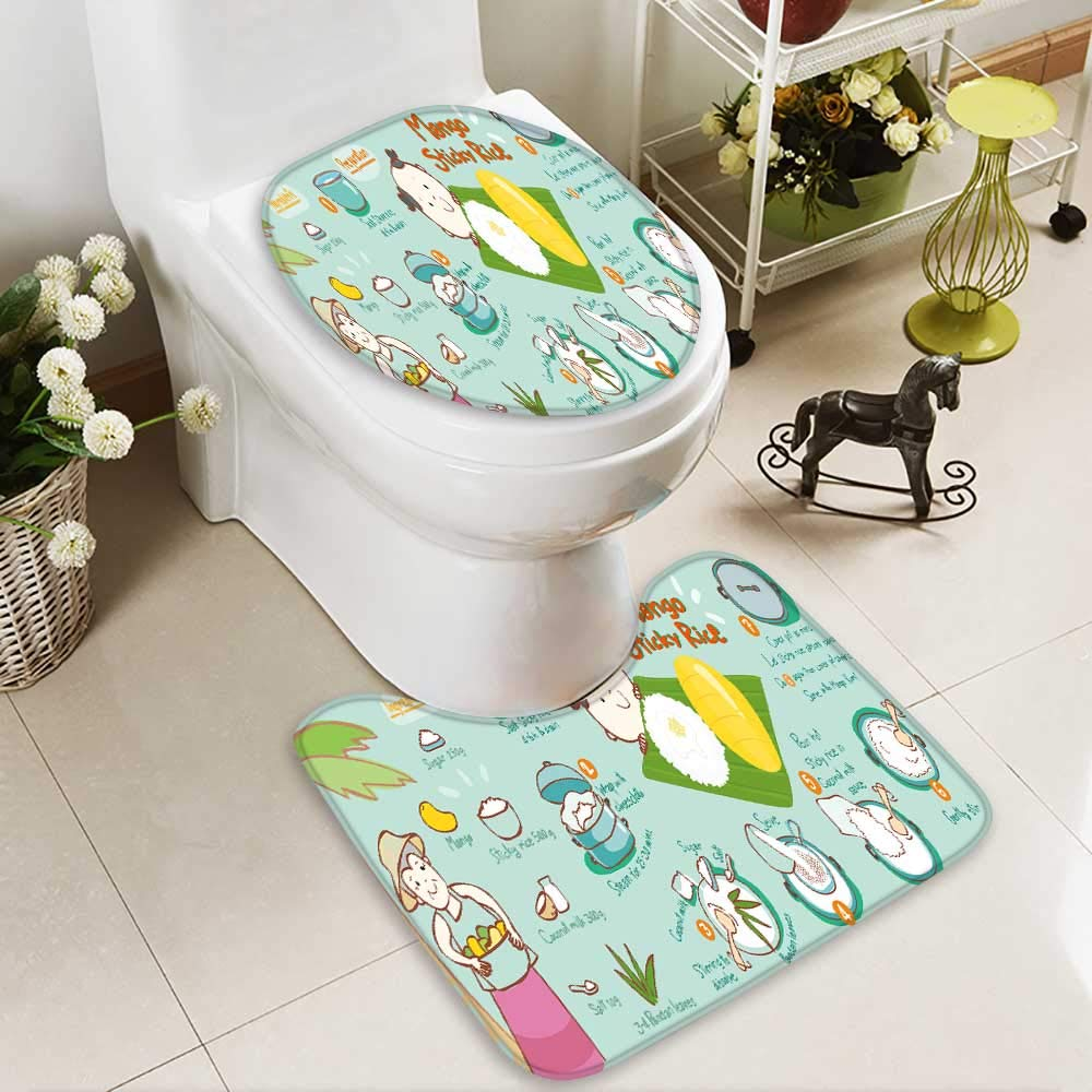 Analisahome U-shaped Toilet Mat-Soft mango with sticky rice thai dessert vector illustration 2 Piece Toilet Toilet mat by Analisahome