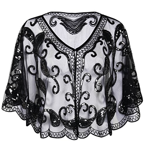 PrettyGuide Women's Evening Cape 1920s Paisley Cocktail Flapper Beaded Shawl (Capelet Dress)