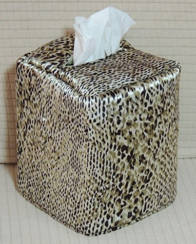 """FREE SHIPPING! 5"""" x 6"""" x 5"""" Tissue Box Cover. Python Rayon Print with clear sequins. Fabric is Fully Lined. Hand ()"""