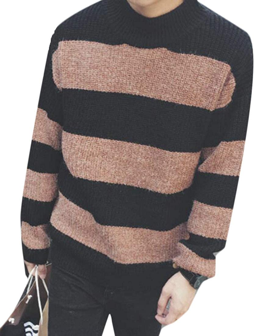 XTX Mens Slim Pullover Striped Thicken Crewneck Knit Sweaters Top