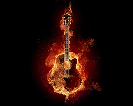 Posterhub Music Guitar Bass Fire Hd Wallpaper Fine Art Paper