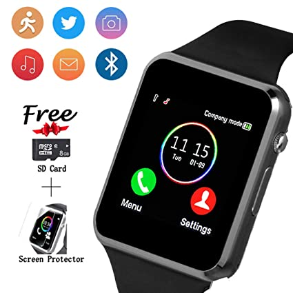 Smartwatch, Smart Watch with SIM Card Slot Text Call Reminder Camera Music Player Pedometer Compatible with Android Samsung and iPhone(Partial ...