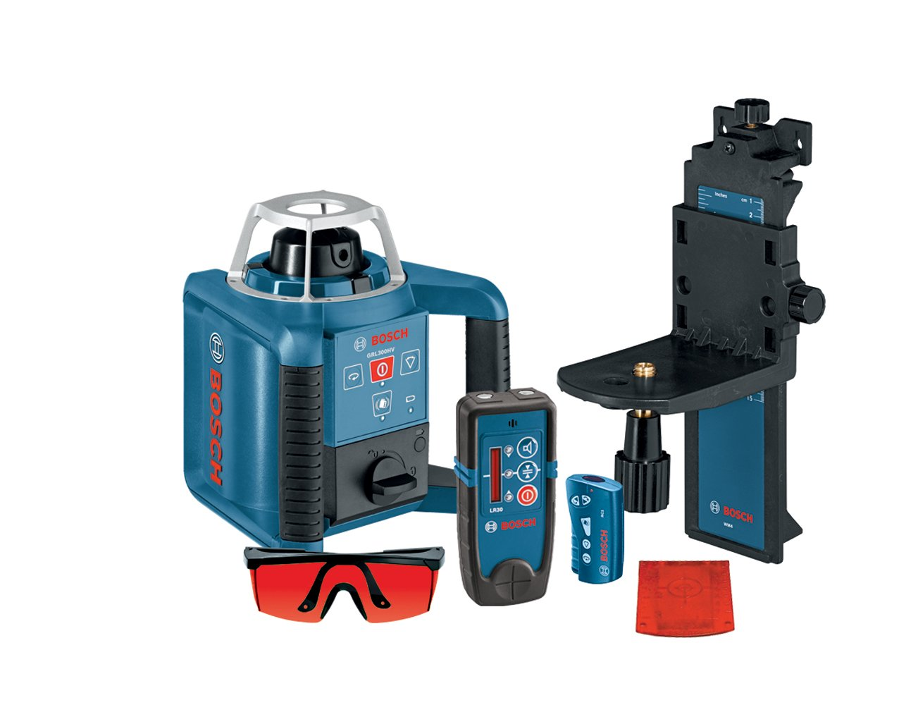 Bosch Self Leveling Rotary Laser with Layout Beam Interior Kit with Receiver Remote and Wall Mount GRL 300 HVD