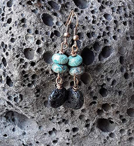 Blue Calsilica Jasper and Lava Stone Essential Oil Diffuser Dangle Drop Earrings Copper