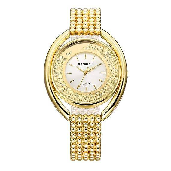 Relojes Pulsera Esfera Grande Rhinestone Enrollable Cuarzo Relojes Mujer Pulsera de Acero Inoxidable