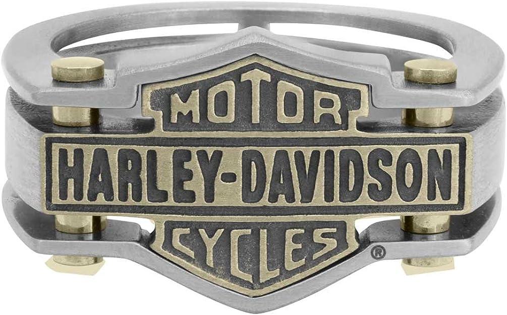 Harley-Davidson Men's Industrial Brass & Steel Ring, Stainless Steel HSR0036