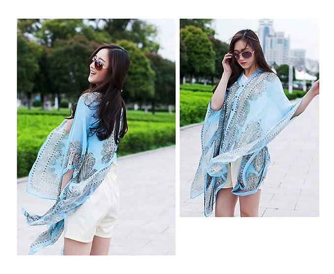 924b0677dd BEIYE Beachwear Shawl, Scarf Swim, Beach Cover Up, Women Boho Chiffon  Kimono Scarf Cover-ups Blue at Amazon Women's Clothing store: