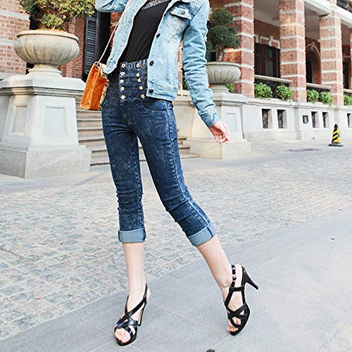 FANIMILA Mujer Moda Gladiator Strappy Sandalias Tacon alto delgado Zapatos Negro