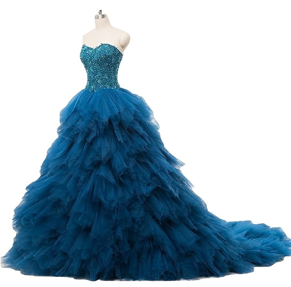 Buy The London Store Women S Peacock Blue Organza Ball Gown At