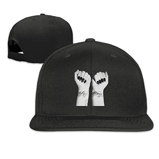 b8168741944d3 YouNood Demi Lovato Wrist Tattoo Drawing Flat Bill Snapback Adjustable Golf  Hat Black at Amazon Men s Clothing store