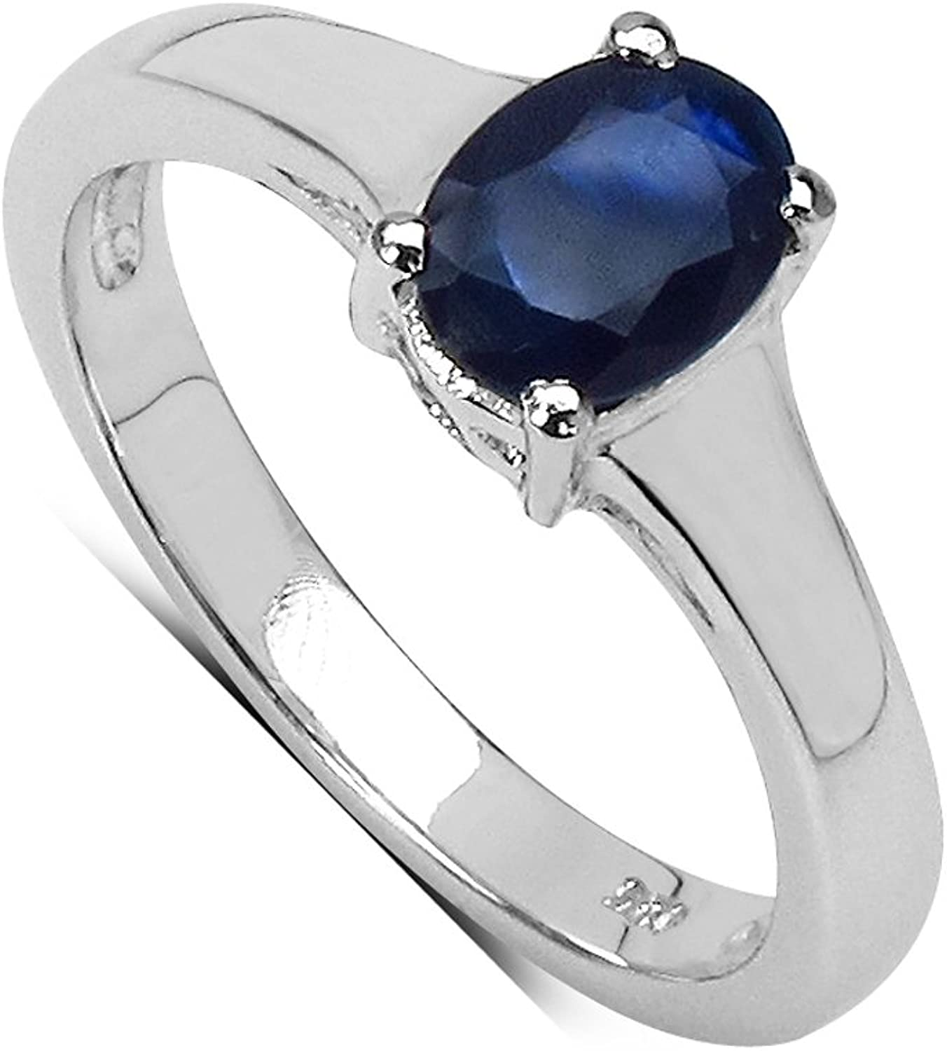 Details about  /Oval Shape 925 Sterling Silver Gemstone Sapphire Rings For Women Engagement Gift