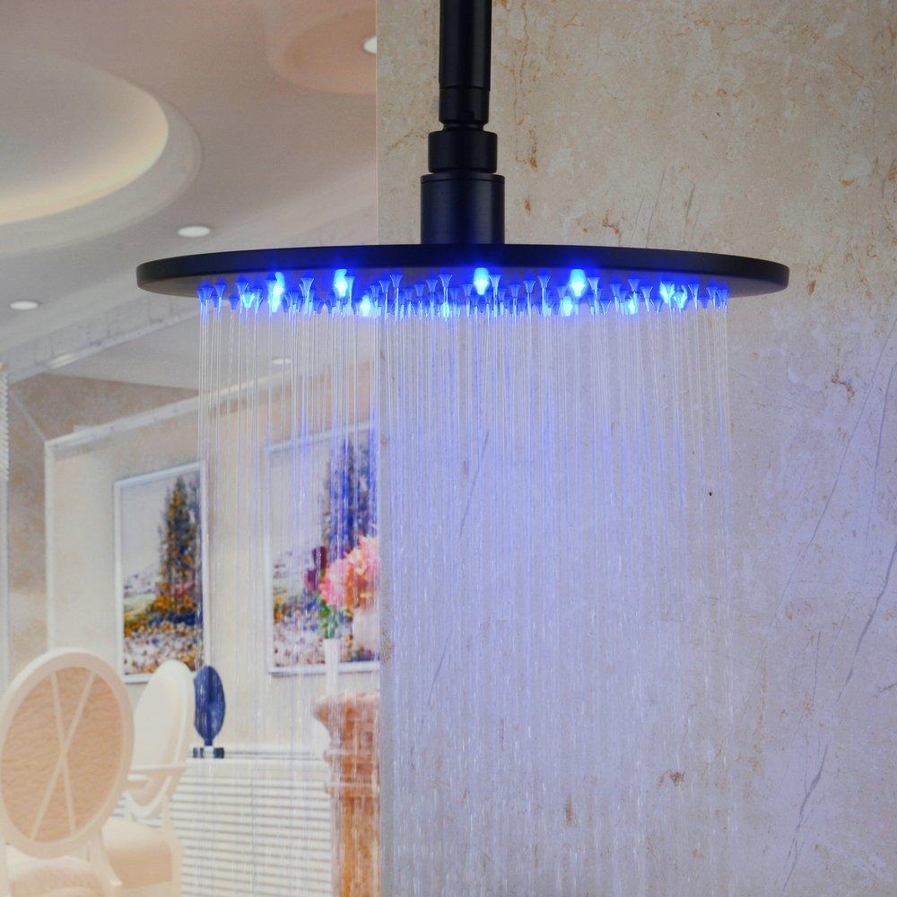 Hiendure 10\'\' Round Stainless Steel LED Rain Shower Head, Brushed ...