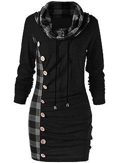 165a36445bb ASSKDAN Women s Cowl Neck Long Sleeve Plaid Drawstring Button Ruched Tunic  Hoodie Dress Sweatshirt