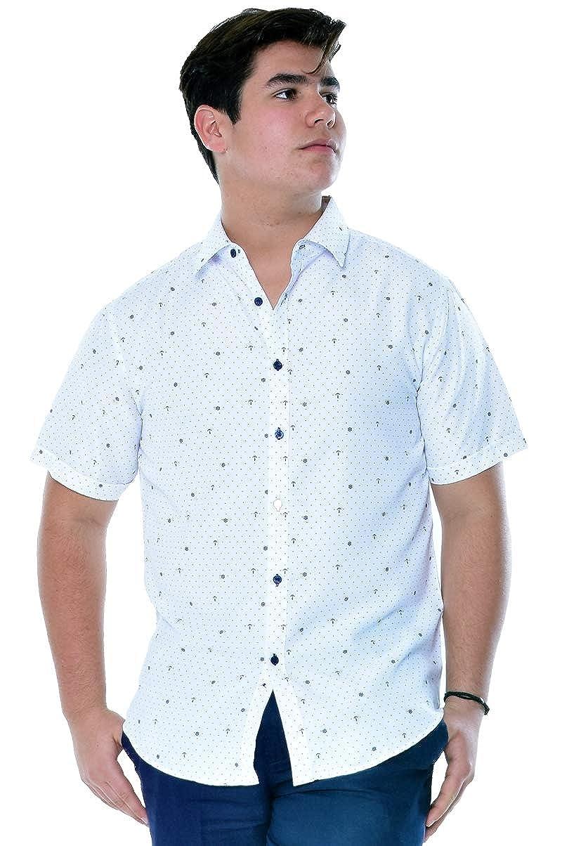 bohio Mens Microfiber White Print Short Sleeve Shirt MCS1008