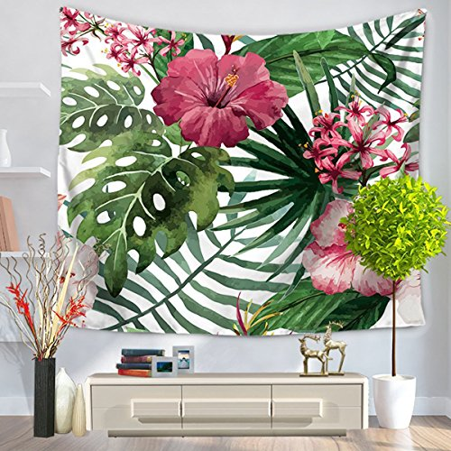Orchid Tropical Print - Shukqueen Watercolor Flower Decor Tapestry Tropical Wild Orchid Flowers with Palm Leaves Print Exotic Style Nature Artwork, Bedroom Living Room Dorm Decor (60
