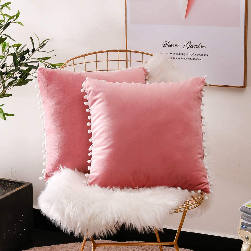 Lihio Throw Pillows Covers Decorative with Pom Poms Cushion Covers Velvet Solid Color Soft Sofa Chair Home Set of 2,18x18 Inch Pink