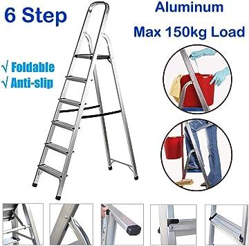 Escalera de aluminio de 6 escalones, plegable, para bricolaje, herramientas, plataforma ligera, antideslizante, portátil, para almacén, capacidad de 150 kg: Amazon.es: Bricolaje y herramientas