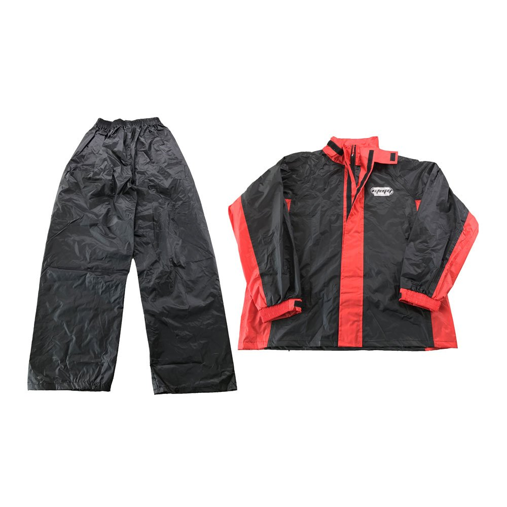 Adult Unisex Motorcycle Rain Suit - Light Weight Waterproof Jacket and Pants 2 Pcs Set - Black / Red - Size XXL