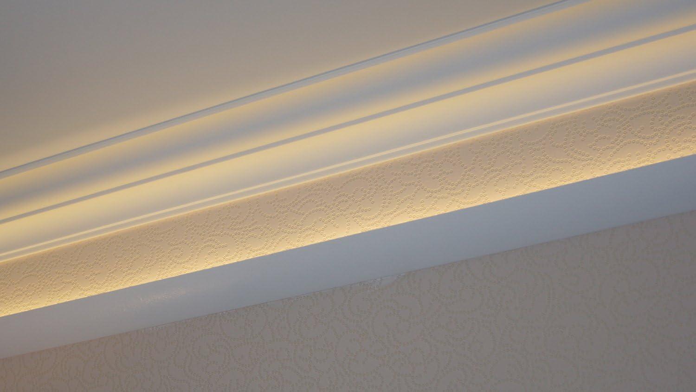 5 Leisten /à 2 m L/änge Dekorleiste f/ür indirekte Beleuchtung aus Styropor DECOSA Lichtleiste G37