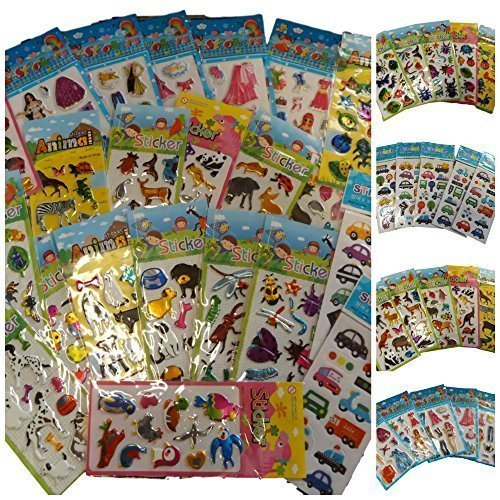 25 Petites Feuilles de Stickers pour Enfants pour Artisanat, Scrapbooks, Création de Carte, Sacs Surprise: insectes; voitures; camion, mode, ours mignons, lapins, etc