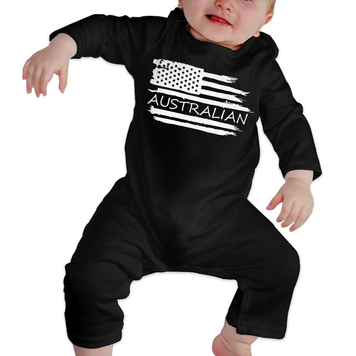YUE--3BODY American Flag Australian Flag Baby Boy Girl Long Sleeve Gentleman Bodysuit