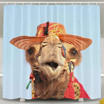 Beautiful Camel Shower Curtain Repellent Fabric Mildew Resistant Machine Washable Bathroom Anti Bacterial Polyester Liner