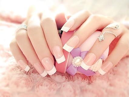 Puntas de uñas postizas Jovono estilo francés (tamañ ...