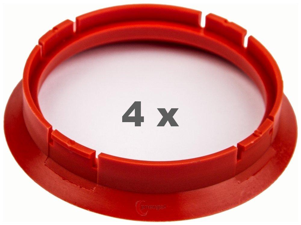 4 X Anello Di Centraggio 64.0 su 56.6 Blutorange/Vermillion Pneugo