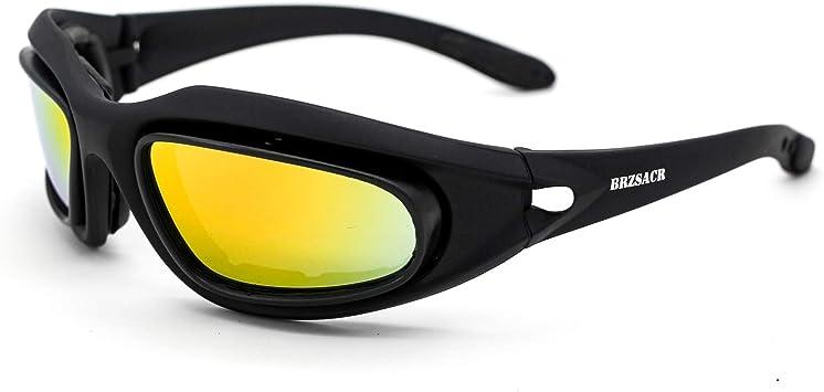 BRZSACR Gafas de Sol Deportivas polarizadas Protección UV400 Gafas de Ciclismo con 4 Lentes Intercambiables para Ciclismo, béisbol,caza,Pesca, esquí, Funcionamiento. (negro): Amazon.es: Deportes y aire libre