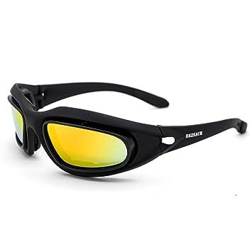 BRZSACR Gafas de Sol Deportivas polarizadas Protección UV400 Gafas de Ciclismo con 4 Lentes Intercambiables para Ciclismo, béisbol,Caza,Pesca, esquí, ...