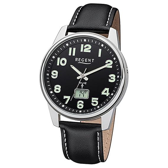 Regent Reloj de pulsera elegante Analog de piel para hombre de pulsera Negro Reloj controlado por