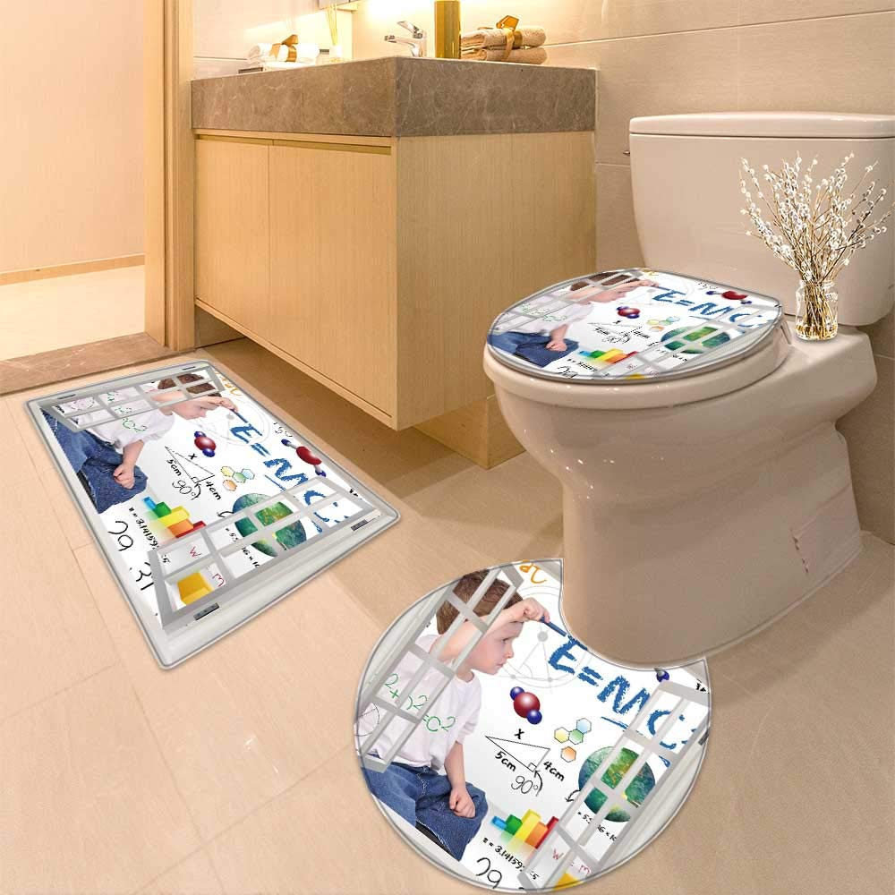 HuaWuhome 3 Piece Large Contour Mat Set Young boy Child is Writing Out h and Science Equations and Formulas Use it for a School Study 3D Digital Printing