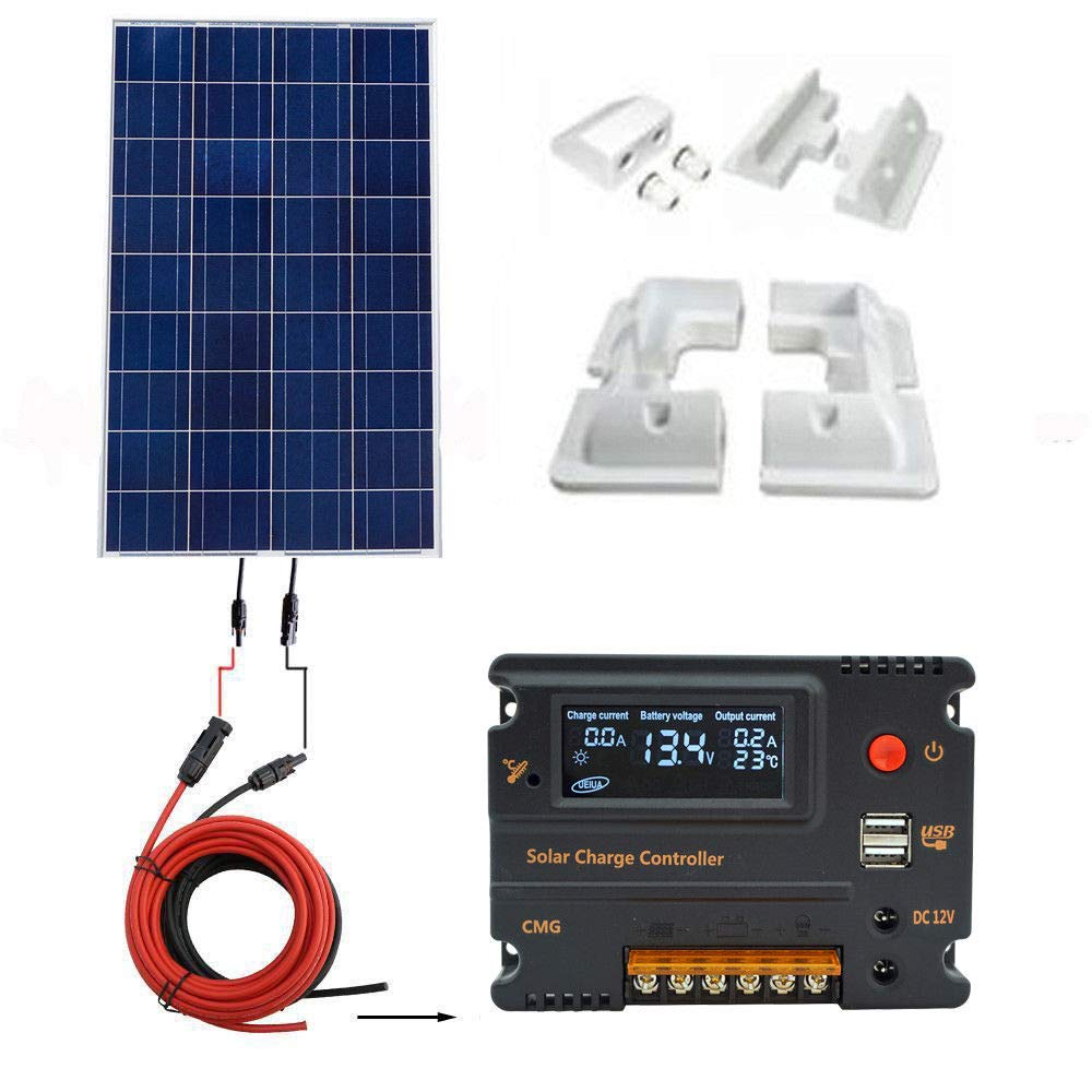 ECO-WORTHY 12V 120W Poly Solar Panel Kit: 120W Poly Solar Panel & 20A CMG Solar Charger Controller & 5m Solar Cable & Corner Brackets for Caravan Home Car ABS Plastic Material