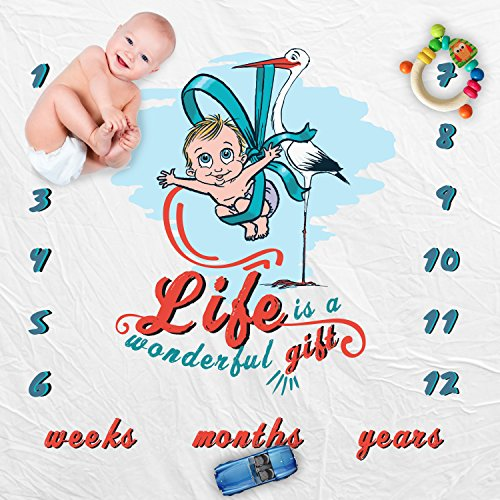 Personalized Monthly Keepsake Memorable Baby Blanket:Infants & Toddlers Blanket For First Year Month To Month Photoshoot W/ ADOURABLE COMIC PRINTS,Soft & Cazy Wrap 45x45 Inch In White+2 Gifts